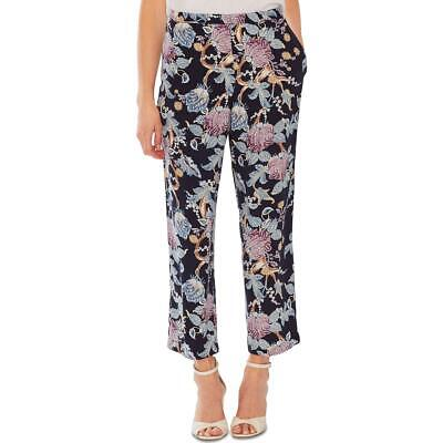 Vince Camuto Womens Poetic Blooms Blue Printed Pull On Cropped Pants L BHFO 6235