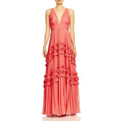Halston Heritage Womens Pink Pleated Ruffled Evening Dress Gown 8 BHFO 8796