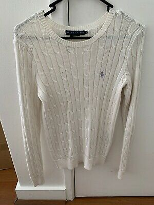 Ralph Lauren Womens Cable Knit Jumper in White With Purple Horse - Size Medium