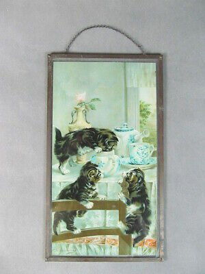 19thc VAN VREDENBURGH Print on Glass KITTENS Breakfast 1/2 Yard Long