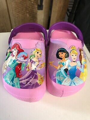 DISNEY Princess Crocs Shoes Girls Size 9 Crocband Clog Kids Light Up
