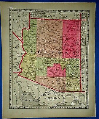 Vintage 1885 MAP PRESCOTT, CAPITOL of the ARIZONA TERRITORY Old Antique Original