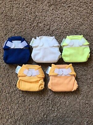 Lot Of 5 Bum Genius Cloth Diapers With Velcro Closures Newborn Size XS