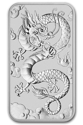 2019 - 1 - Oz - Pure .9999 Silver - Silver  Dragon Bar - Perth Mint - $9.99 Rare
