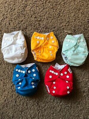 Lot Of 5 Alva Baby Pocket Cloth Diapers And Large Wet Bag