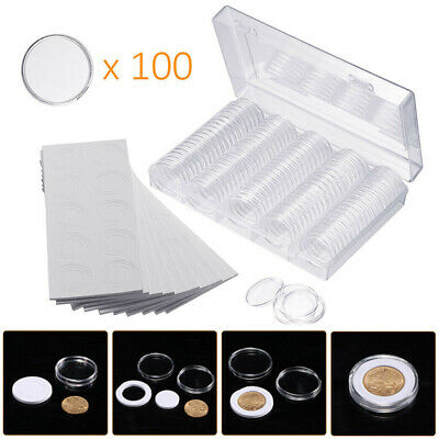 17-30mm 5 Size Coins Display Storage Box Collectible Coin W/ 100 Capsules Case