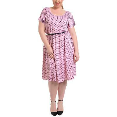 NY Collection Womens Pink Polka Dot Short Sleeves Casual Dress Plus 1X BHFO 8730