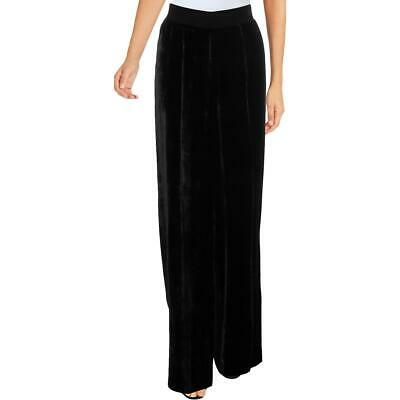 ATM Womens Black Drapey Velvet Pull On Wide Leg Pants M BHFO 3541