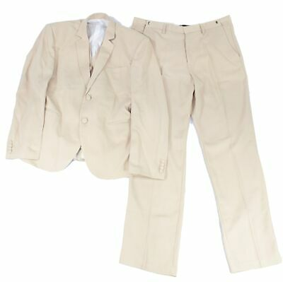 Designer Brand Mens Suit Set Beige 2XL 4 Piece Blazer Vest Pants Tie $200- #282