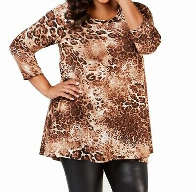 NY Collection Women's Tunic Brown Size 2X Plus Trapeze Print High-Low $49 #274
