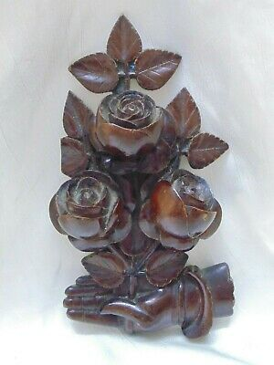 Antique Hand Carved Wood Victorian HAND w Roses Bouquet High Relief Wall Art
