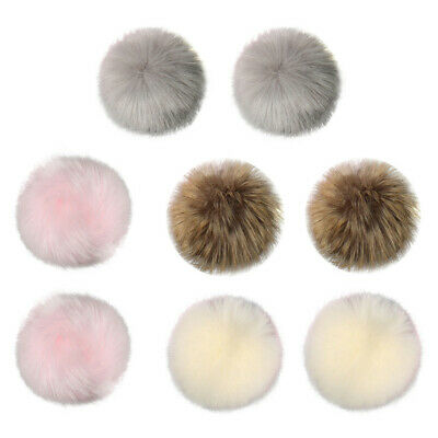 DIY 8Pcs Fashion Faux Fox Fur Fluffy Pompom Ball for Knitting Hat Hats AU