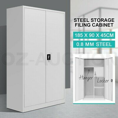 Filing Cabinet Steel Lockable Storage Cupboard with Hanger & Drawer - Grey White