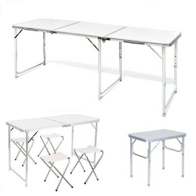 2/4/6Ft Folding Camping Table Picnic Portable Adjustable Party Bbq Outdoorgarden
