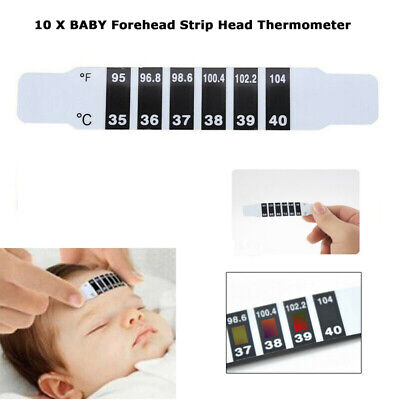 10Pcs Baby Forehead Thermometer Strips Kids Body Fever Temperature Tester Paper