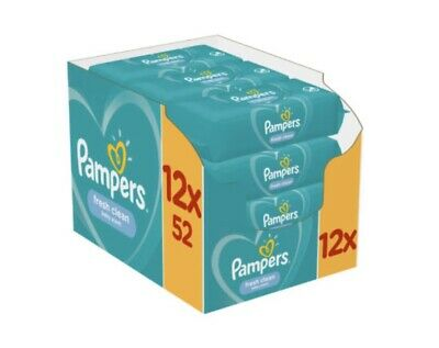 24 Packs Pampers Fresh Clean Baby Wipes Total 1248 Wipes