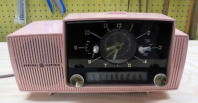 1950'S Mid-Century Modern General Electric GE Pink Electric Radio Alarm Clock