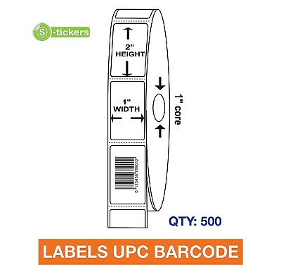 500 LABELS UPC Barcode Codes Numbers 1x2 ""