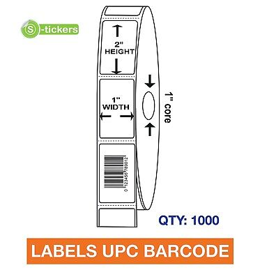 1000 LABELS UPC Barcode Codes Numbers 1x2 ""