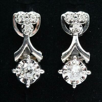 Vintage Estate 14K Solid White Gold 1Ctw Natural Diamond Movable Earrings