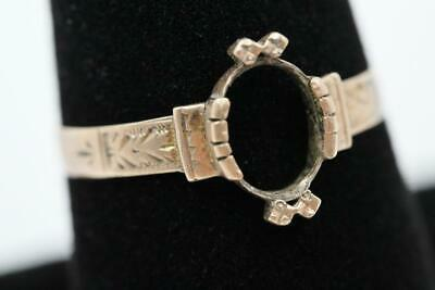 Antique Victorian 10K Solid Rose Gold Size 8.75 Fancy Mount For 1Ct Oval Stone