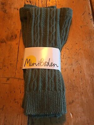 Girls Green Footless Tights, Boden, Cable Pattern. 11-12 Yrs New.
