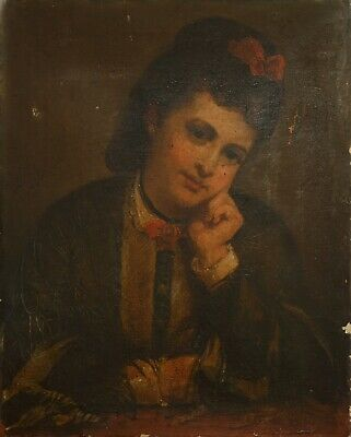 Fine Antique 19th Century Portrait Of A Young Lady Oil On Canvas Painting