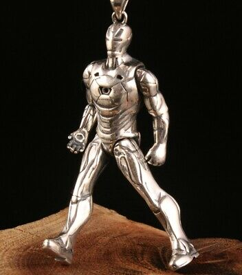 China Solid Silver Hand-Carved Iron Man Statue Cool Pendant Gift Collec Old