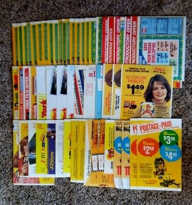New Assorted Vintage Film Developing Mail-In Envelopes - Lot Of 58