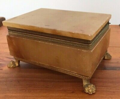 Rare Antique Vintage French Alabaster Marble Trinket Box On Gilt Crows Feet