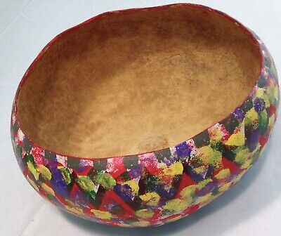 Carved Gourd Wooden Bowl Hand Painted Colorful Display Art Artsy Table Top