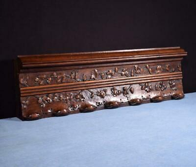 """*24"""" French Antique Gothic Pediment/Crest/Panel in Carved Walnut Wood Salvage"""