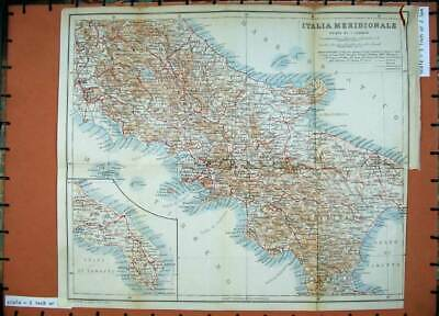 Original Old Antique Print 1912 Colour Map Italy Italia Meridionale Napoli Roma
