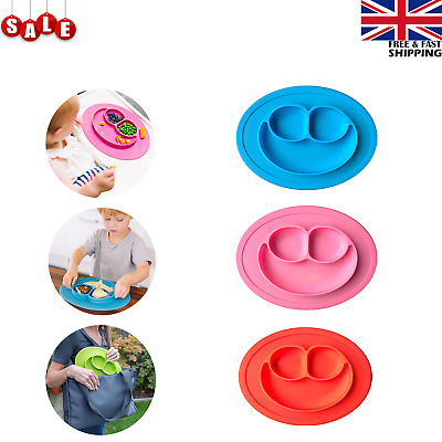 Smiley Silicone Baby Kids Suction Plate Divided Bowls Dinner plate  BPA Free