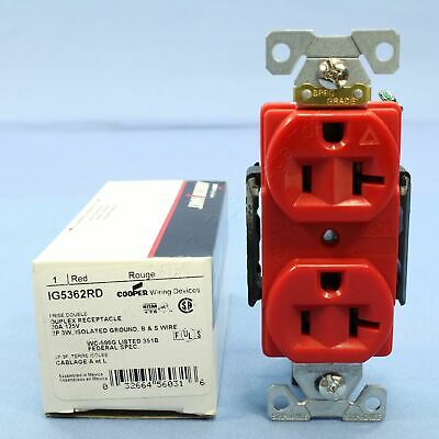 Cooper Red ISOLATED Ground Duplex Outlet Receptacle NEMA 5-20R 20A 125V IG5362RD