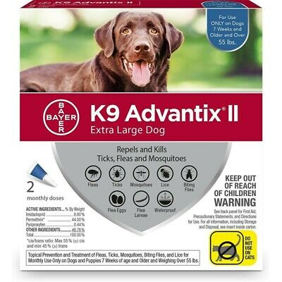 Bayer K9 Advantix II Flea and Tick Control for Dogs over 55 lbs 2 Pack
