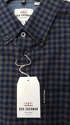 Ben Sherman Mens Shirt Button Up Check Blue Gray Fleece Flip Cuff End Up M NEW