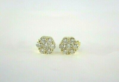 14 Round Brilliant Diamond 14K Yellow Gold Cluster Earrings with Butterfly Backs