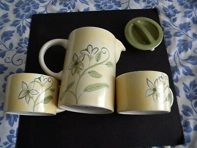Tea Set With Two Cups And Tray Tea Pot.yellow With Green Flowers & Accents