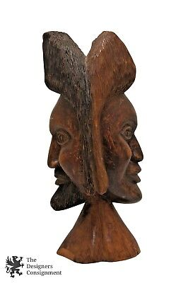 """Primitive Two Face Carved Wood Figurine Head Bust Man Woman Jamaica Linford 13"""""""