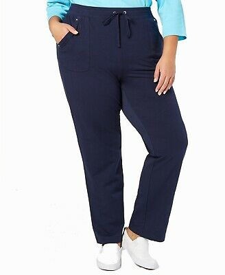 Karen Scott Women's Pants Blue Size 1X Plus French Terry Stretch $54 #156