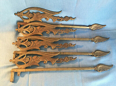 Lot of 4 Art Nouveau Vintage Brass Cast Iron Swing Arm Curtain Drapery Rods