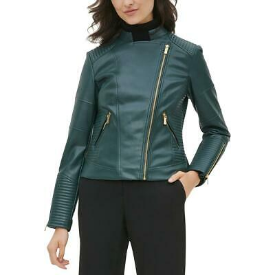 Calvin Klein Womens Green Faux Leather Spring Motorcycle Jacket Coat M BHFO 8587