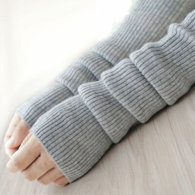 Womens Gloves Autumn Winter Wool Arm Warmers Sleeve Knitted Woolen Long Mittens