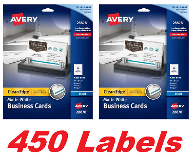 Avery 28878 Clean Edge Business Cards Two-Sided Printing Inkjet (450 Pack)