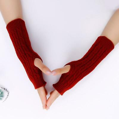 Women Gloves Wool Autumn Winter Fingerless Thick Soft Knitted Arm Warmers Mitten