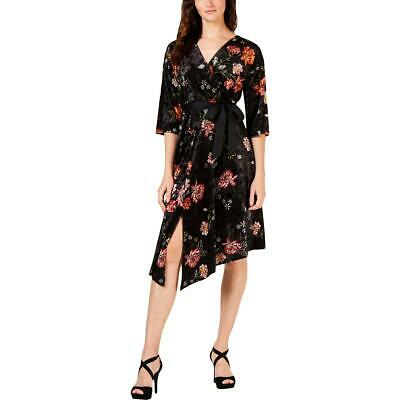 NY Collection Womens Black Velvet Floral Party Dress Petites PS BHFO 1122