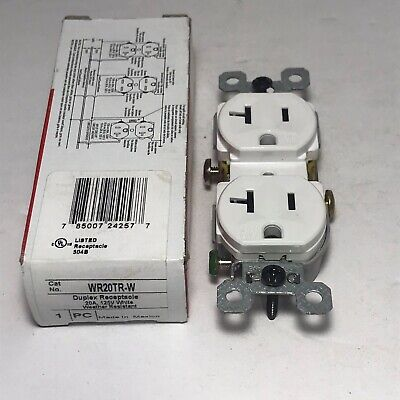 Pass & Seymour WR20TR-W Weather Resistant 125V 20A Duplex Receptacle New. A22