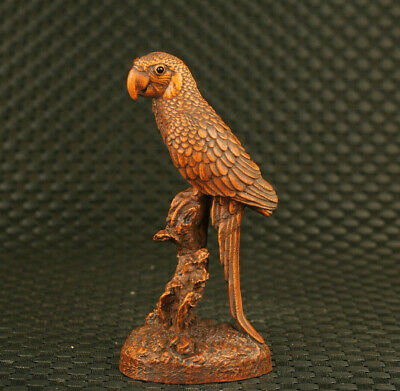 Lovely Chinese old boxwood hand carved parrot statue figure netsuke collectable