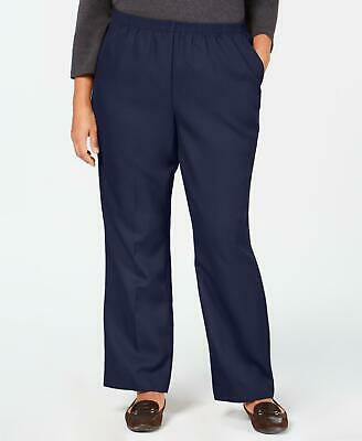 Karen Scott 2730 Plus Size 3X Navy Blue Solid Straight-Leg Pants 2-Pockets $48